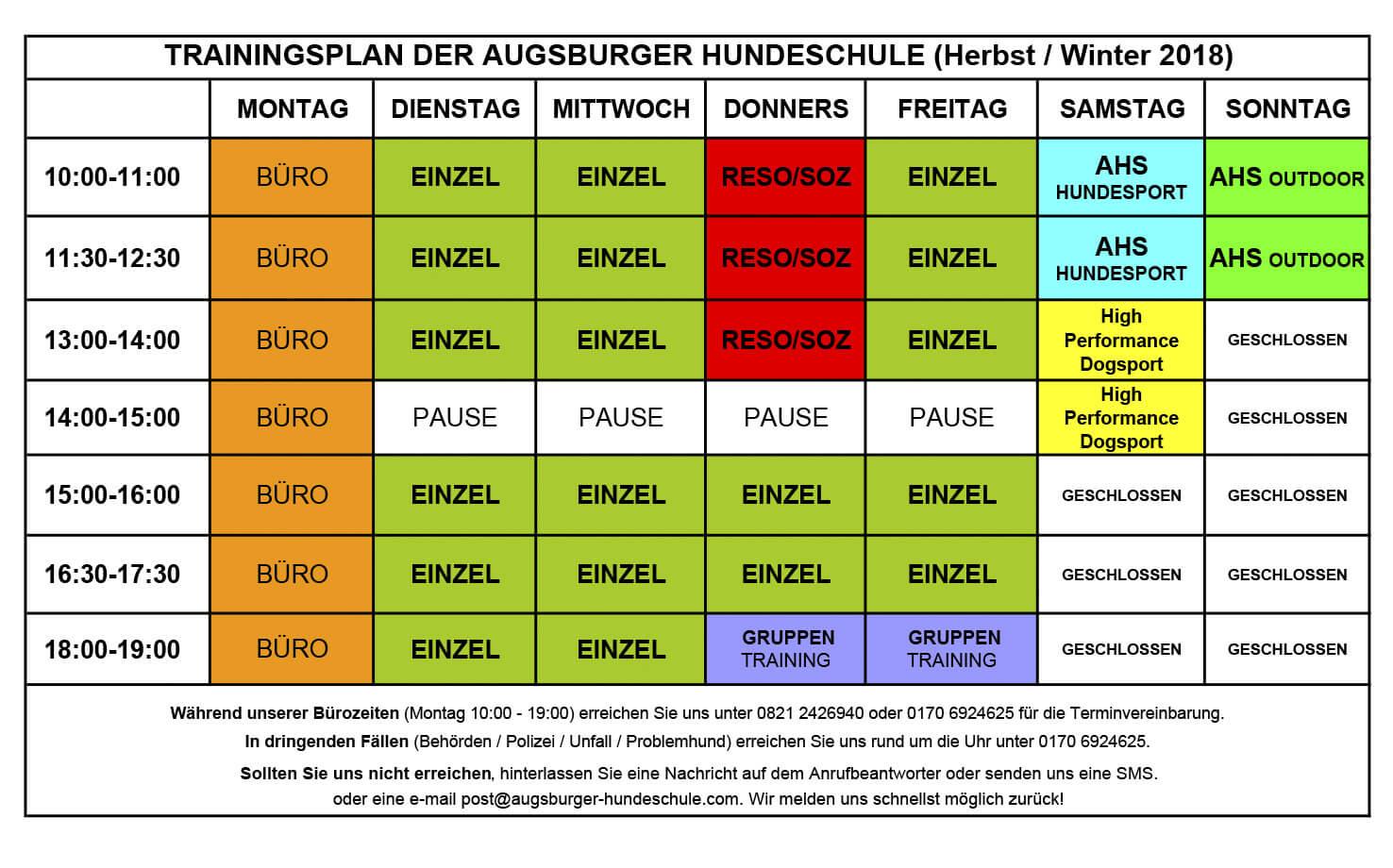Training Wochenplan Augsburger Hundeschule